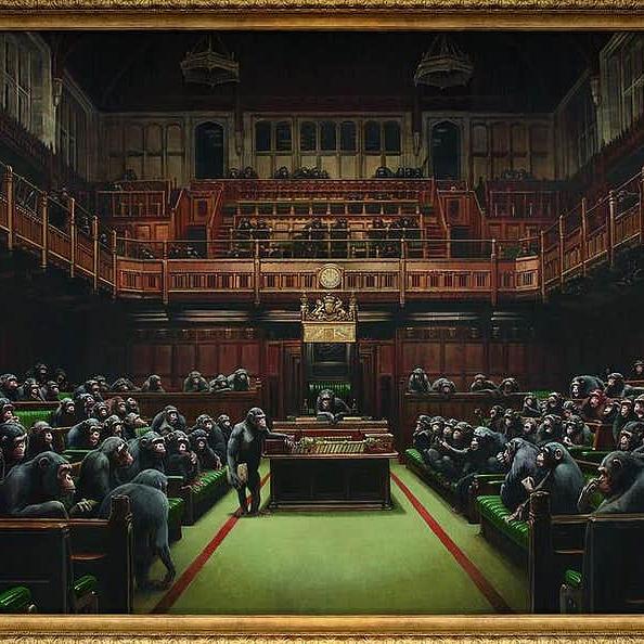 Rekordot dönthet Banksy a képviselőket majomként ábrázoló festménnyel